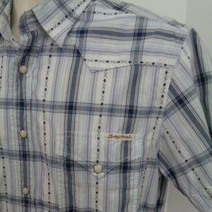 LUCKY BRAND Mens SS Snap Button Shirt M